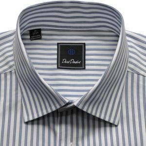 DAVID DONAHUE Striped Cotton Dress Shirt 17 32/33